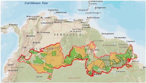 Mapa do Corredor Triplo A proposto pelo governo da Colômbia