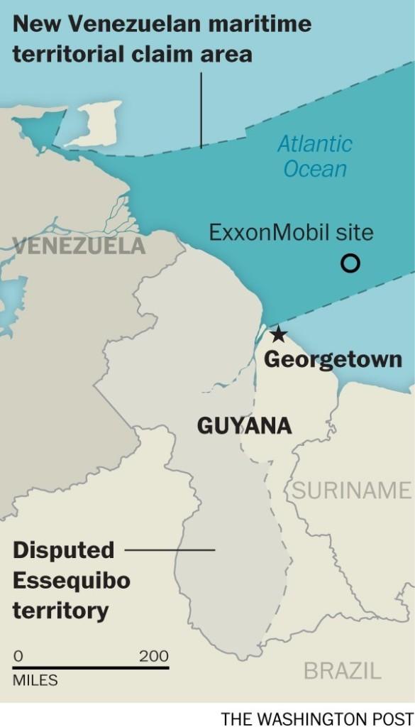 A Guiana, o Essequibo e a área disputada pela Venezuela (Washington Post)